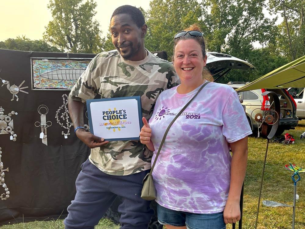 Sunday Mahaja - Peoples Choice Award - Arts on the Millrace 2021 - Pictured with Festival Director Adrienne Nesbitt